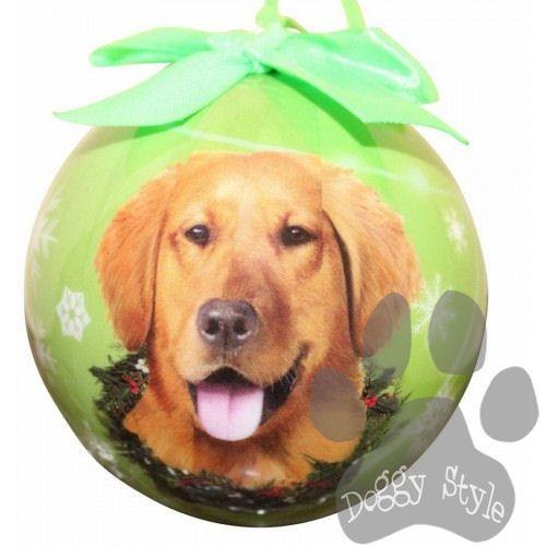golden retriever shatterproof dog breed christmas ornament