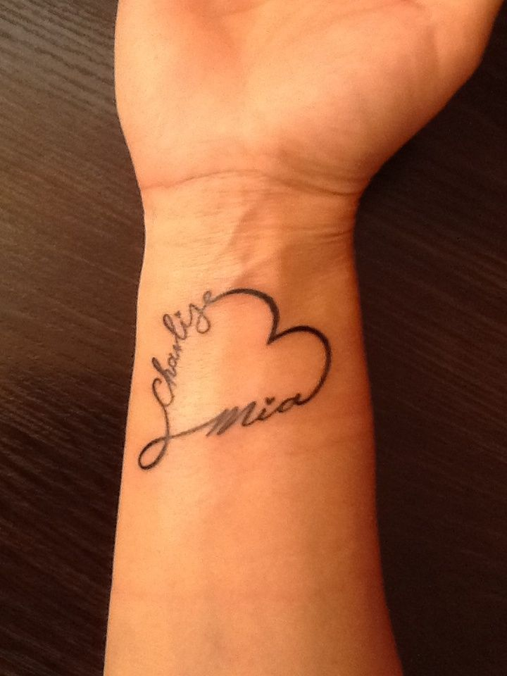 Infinity Heart With My Two Daughters Names For My Girls Tattoos For Daughters Mom Tattoos Name Tattoos For Moms