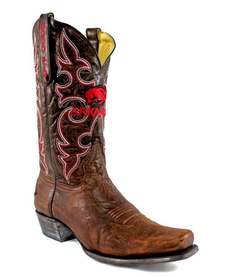 Take a look at this Arkansas Razorbacks Brass Leather Cowboy Boot - Men today!