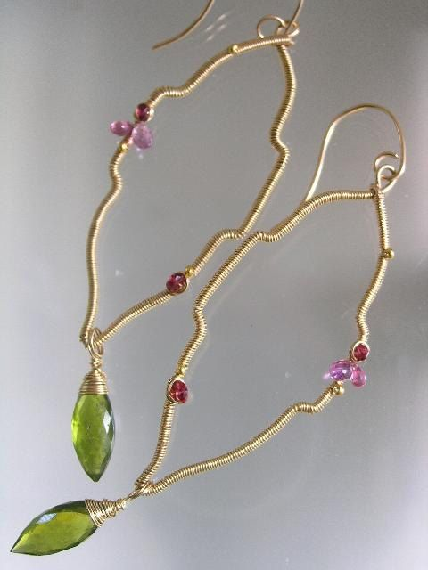 Exotic Silhouettes...Pink Sapphire Ruby Spinel Vesuvianite Moroccan Tile Original Gold Filled Earrings