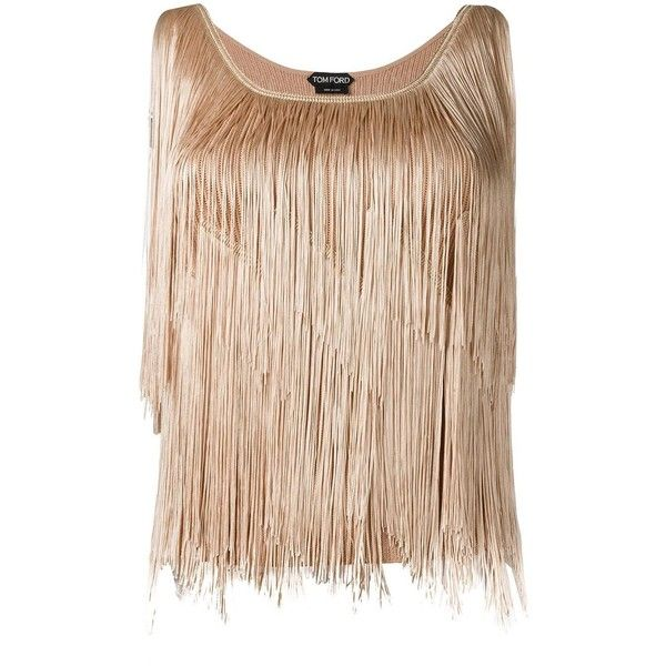 Tom Ford fringed top ($1,915) ❤ liked on Polyvore featuring tops, fringe tops, tom ford and beige top