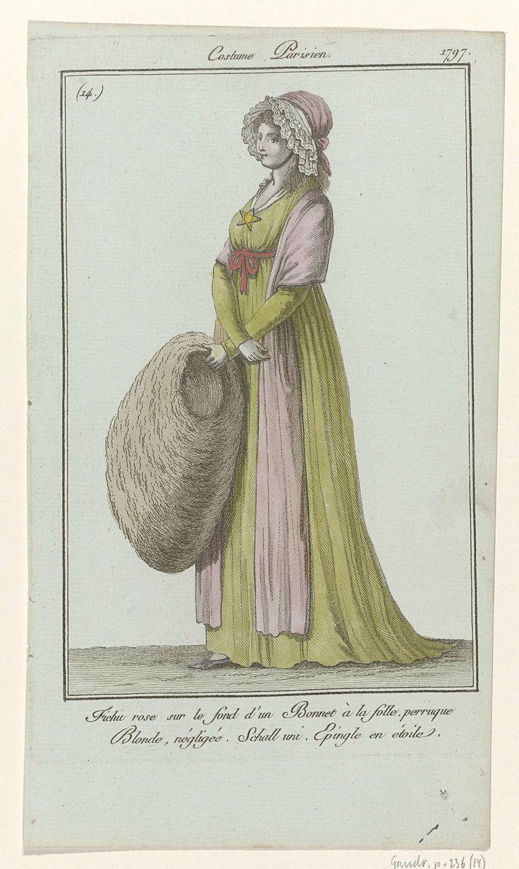 Journal des Dames et des Modes, Costume Parisien, 10 décembre 1797, (14) : Fichu rose sur le fond..., Anonymous, Sellèque, Pierre de la Mésangère, 1797
