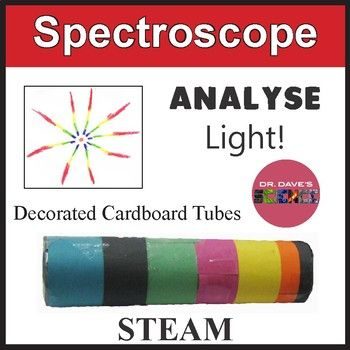 Spectroscopes are surprisingly easy to make out of cardboard tubes and make a great STEM project. Your students can build a working spectroscope and use it to look at and compare different light sources in terms of ROYGBIV. What a colorful activity! The activity requires the availability of small sheets of inexpensive diffraction grating.