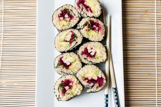Easy Quinoa Sushi Rolls with Miso-Sesame Dipping Sauce