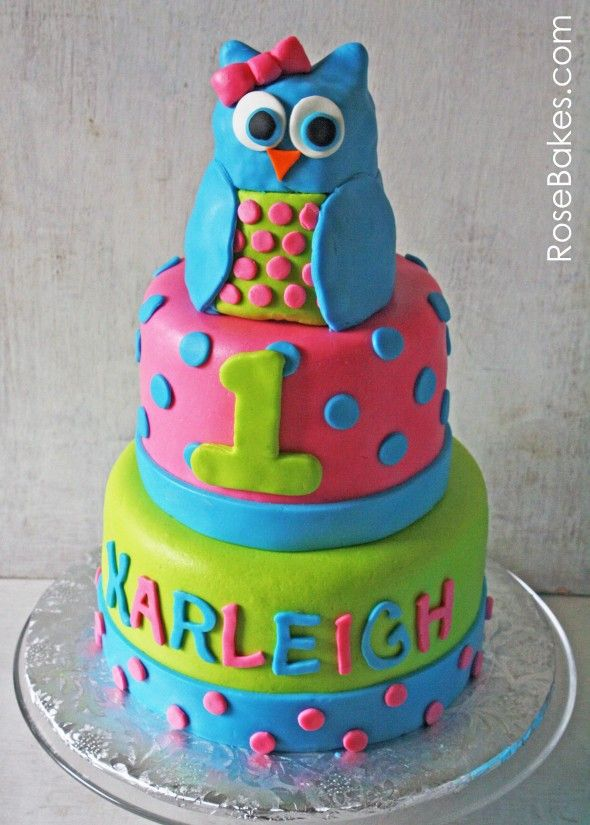 Bright Polka Dots Owl Cake and Owl Smash Cake