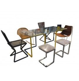 UP_SIDEDOWN exhibitor steel table with glass top cm. 180x80x76h
