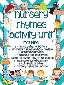 Nursery Rhymes Activites Unit 112 Pages Includes 8 Rhyme Color Posters With Adorable