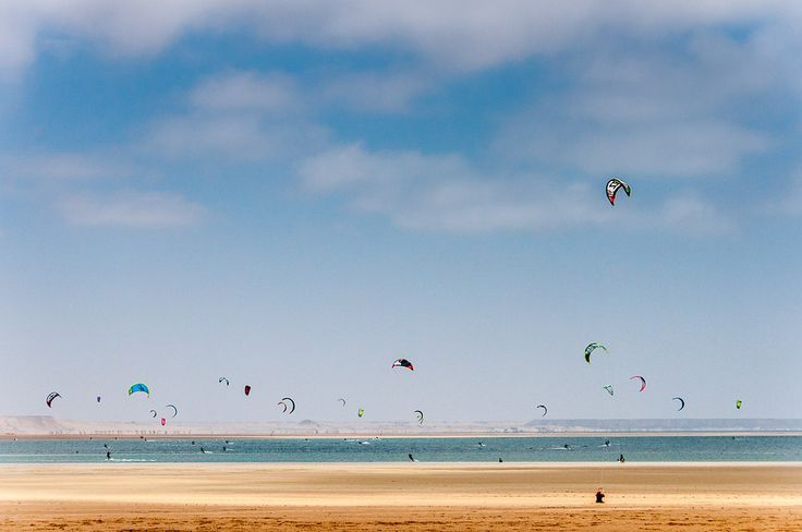 Kite Surfers On the Shore of Dakhla, Western Sahara