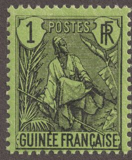 """1904 French Guinea 1c black/yellow green """"Fulah Shepard"""" Quick History In 1894, Dahomey, Cote-d'Ivoire, and the Colony of French Guinea (former name Rivieres du Sud) became """"independent"""" colonies, although French Guinea was actually formed in 1891. In 1904, the Afrique Occidentale Française association was formed under the Governor General in Dakar with lieutenant governors for French Guinea, Dahomey, Senegal, Cote-d'Ivoire, and Upper Senegal and Niger."""