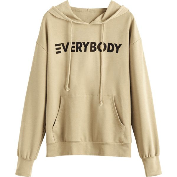 Apricot XL Contrasting Letter Oversized Hoodie ($16) ❤ liked on Polyvore featuring tops, hoodies, gamiss, sweaters, brown hoodie, oversized tops, hooded pullover, oversized hoodie and oversized hoodies