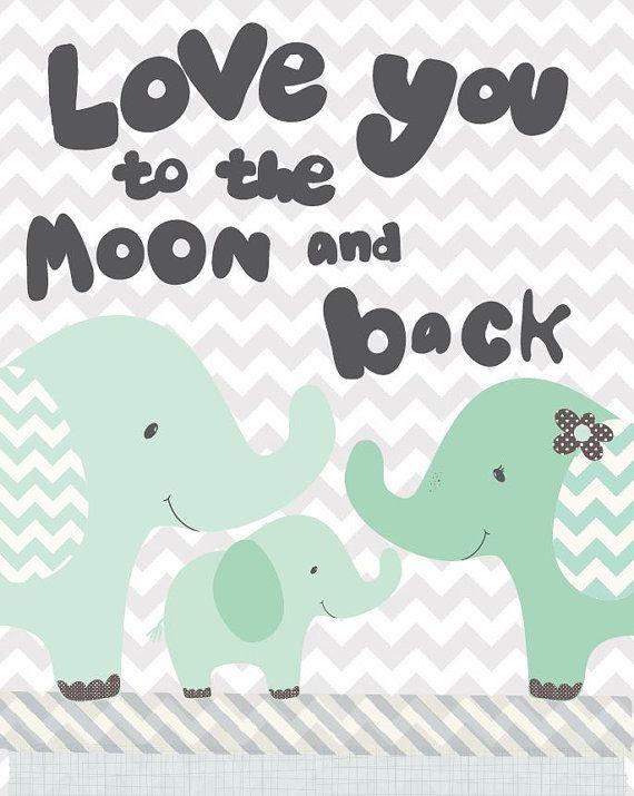 Nursery Art, moon and back art print, elephant art, Nursery art print, grey chevron print, Friendship Falls art print by Jennifer McCully