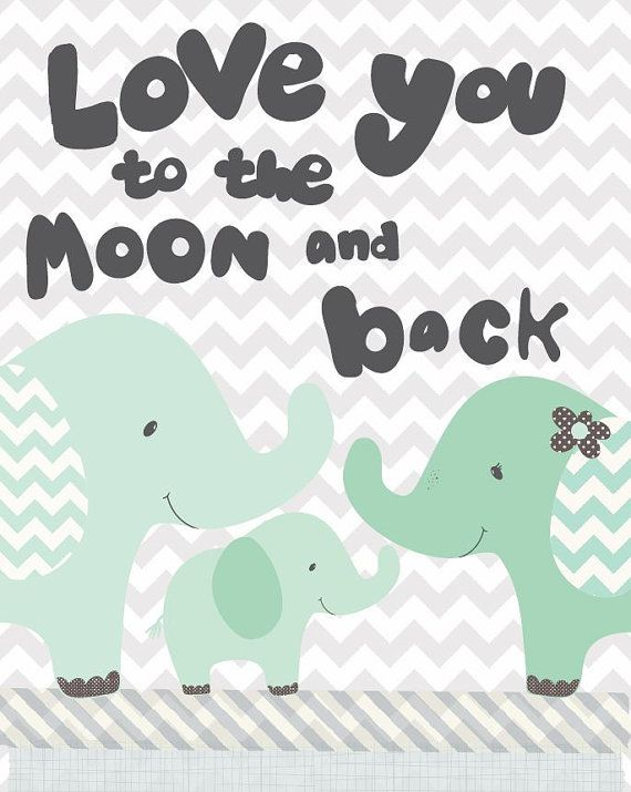 Nursery Art moon and back art print elephant by FriendshipFalls, $14.00