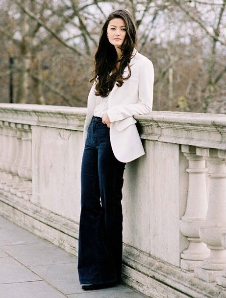 STREET STYLE : Simple ladylike - with white blazer and flared velvet pant...