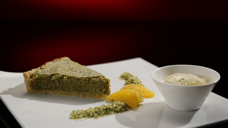 Ali and Samuel's Pistachio and Almond Tart with Orange Ice Cream from S4 of MKR: http://gustotv.com/recipes/dessert/pistachio-almond-tart-orange-ice-cream/
