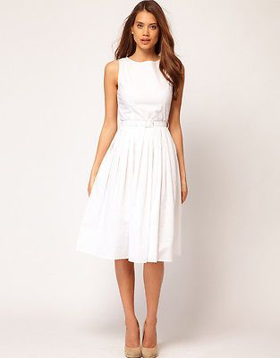 ASOS Belted Midi Summer Dress UK 8 EU 36 US 4 * White