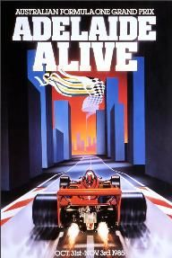 Promotional poster for the first Australian Grand Prix in Adelaide in 1985.