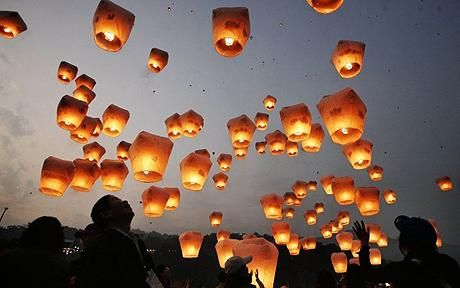 Chinese Lanterns...but after reading this article I dunno how many more I will fly. I have 2 more in my home I've been waiting to release. This article made me bummed.