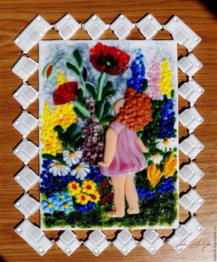 Купить Маки, стекло, фьюзинг - маки, цветы, дети, картина в детскую, детская картина, Фьюзинг