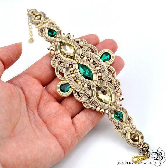 Gold Beige Soutache Bracelet Gold Green bracelet  Soutache
