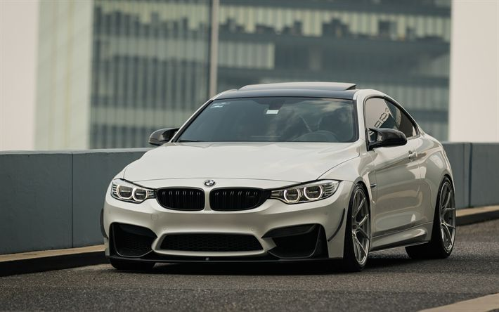 Download wallpapers BMW M4, 2017, 4k, white sports coupe tuning M4, low-profile tires, German cars, F83, BMW