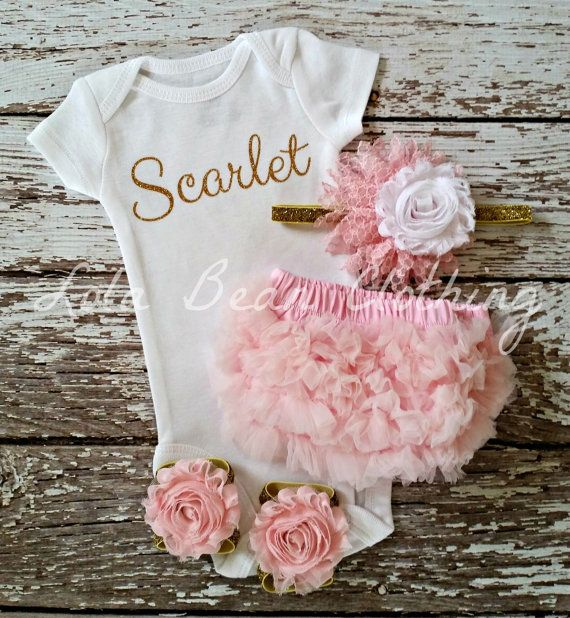 Baby Girl Take Home Outfit Newborn Baby Girl Custom Bodysuit Bloomers Headband Sandals Set Pink Silver Name Customized Onesie lolabean
