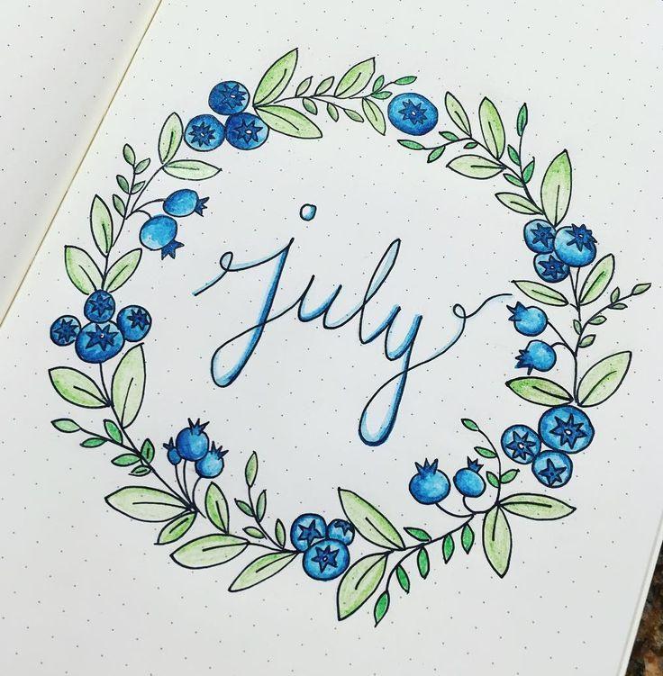 Titelblatt-Ideen für Ihr July Bullet Journal