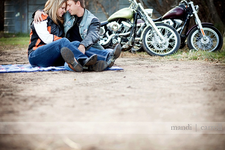 Engagement photos with motorcycles