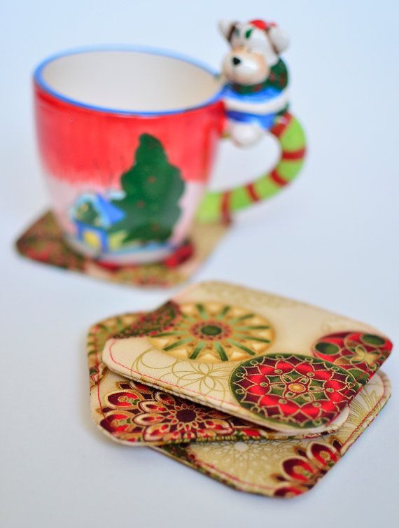 Christmas fabric coasters Gold red green print by VictorsBoutique