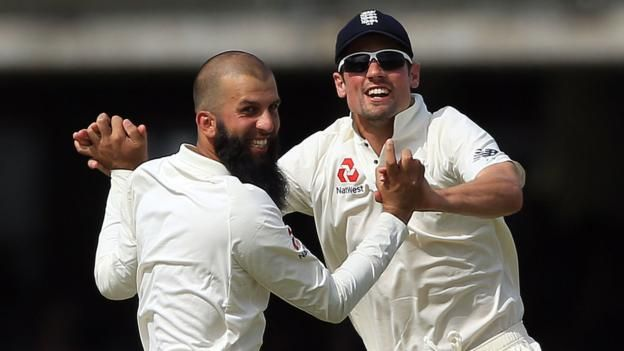 Moeen Ali claims prized wicket of Hashim Amla     First Investec Test, Lord's, day two     England 458: Root 190, Moeen 87*, Broad 57*, Morkel 4-114   South Africa 214-5: Elgar 54, De Bruyn 48, Bavuma 48*   South Africa trail by 254 runs   Scorecard     Moeen Ali and Stuart Broad helped...