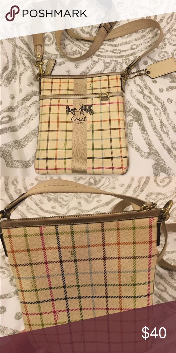 Coach Swingpack Heritage stripe, coated leather, stain resistant Coach Bags Crossbody Bags
