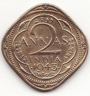 #1943 British Indian 2 annas coin \ Coins \ google.com