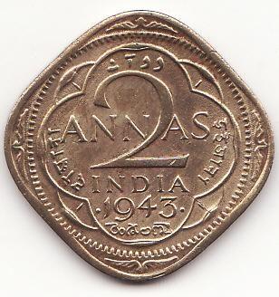 #1943 British Indian 2 annas coin Coins google.com