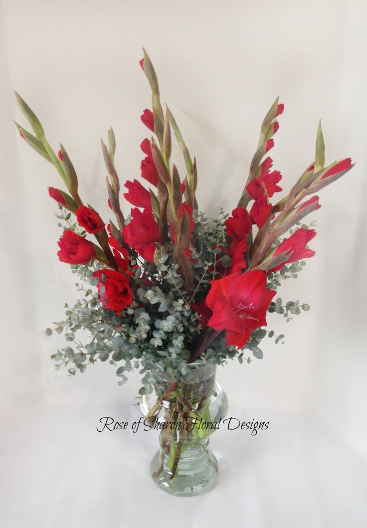 Rose of Sharon Floral Designs, Red Gladiolus Arrangment