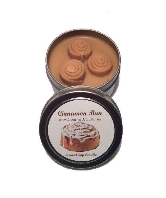 Soy Candle - Cinnamon Bun Candle Favors. Scented Candles. Gift for Wife. Mom Gift Idea. Cinnamon Candle. Wholesale Candles. by GourmetCandle on Etsy https://www.etsy.com/listing/191109694/soy-candle-cinnamon-bun-candle-favors