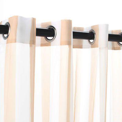 Outdoor Decor Escape Stripe Grommet Top Curtain Panel