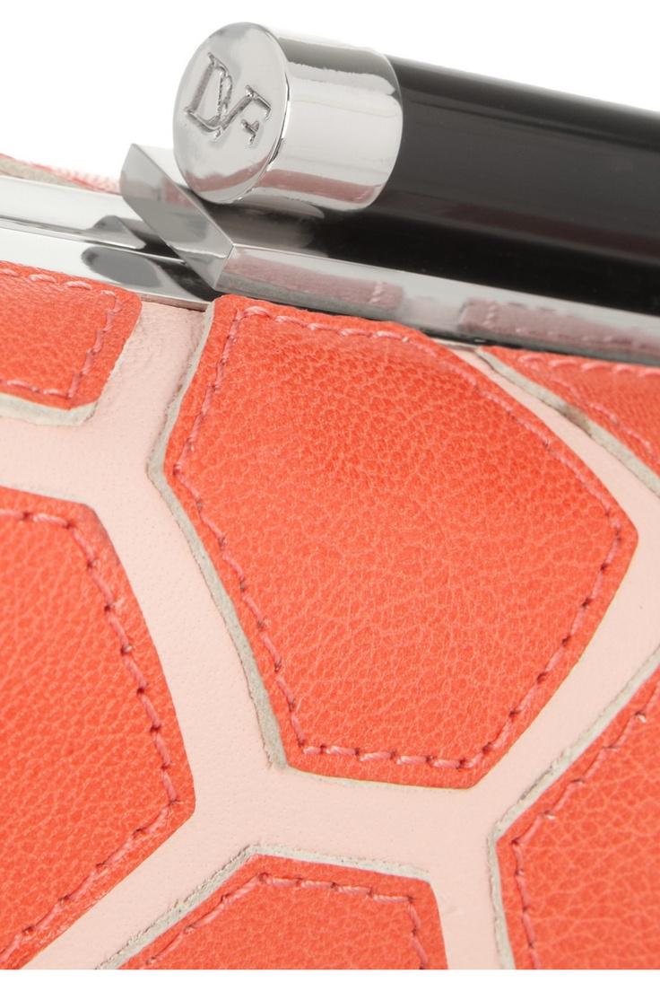 Diane von Furstenberg|Tonda Hexagon Patchwork leather box clutch|NET-A-PORTER.COM