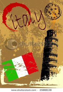Italian Background Clip Art | Grunge Vector Background of the Pisa Tower and Italian Flag Clip Art ...