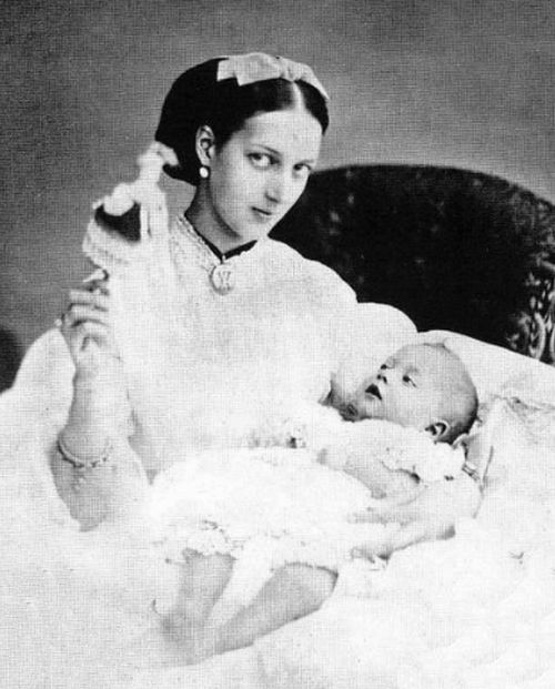 teatimeatwinterpalace: Alexandra, Princess of Wales with her first born child Prince Albert Victor, Duke of Clarence and Avondale in 1864. ...