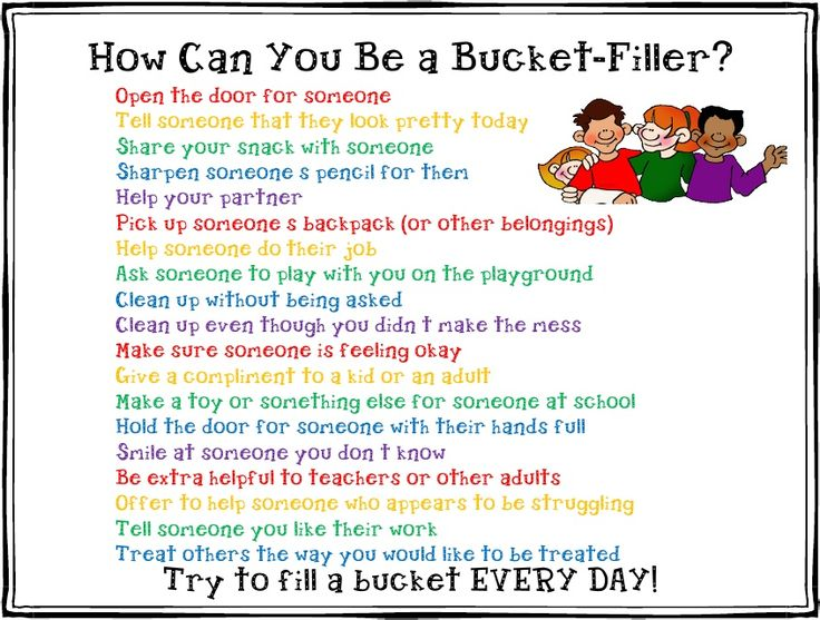"""Bucket filler chart"" for anti-bullying teaching method: We all carry an invisible bucket that contains our feelings. When our bucket is full, we feel great. When our bucket is empty, we feel sad. A bucket filler is someone who says or does nice things for other people. By doing this, they are filling other people's buckets and filling their own bucket at the same time."