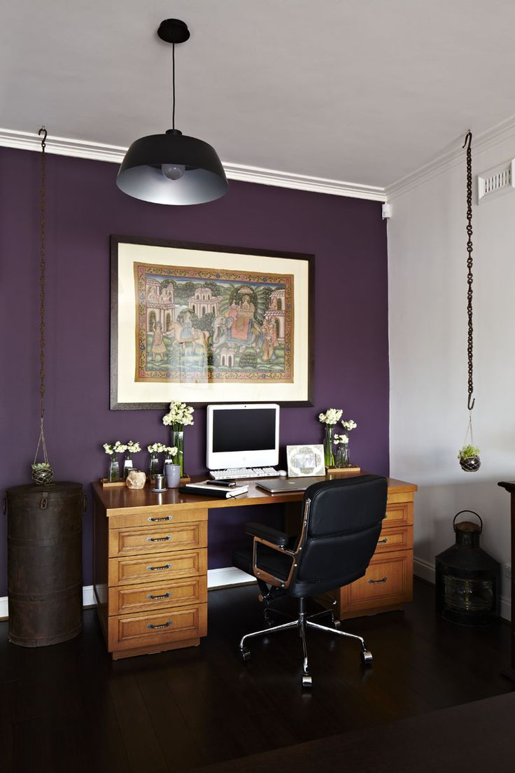 Bedroom decorating ideas feature wall - Talia Mazor Interior Designs Plum Purple Feature Wall