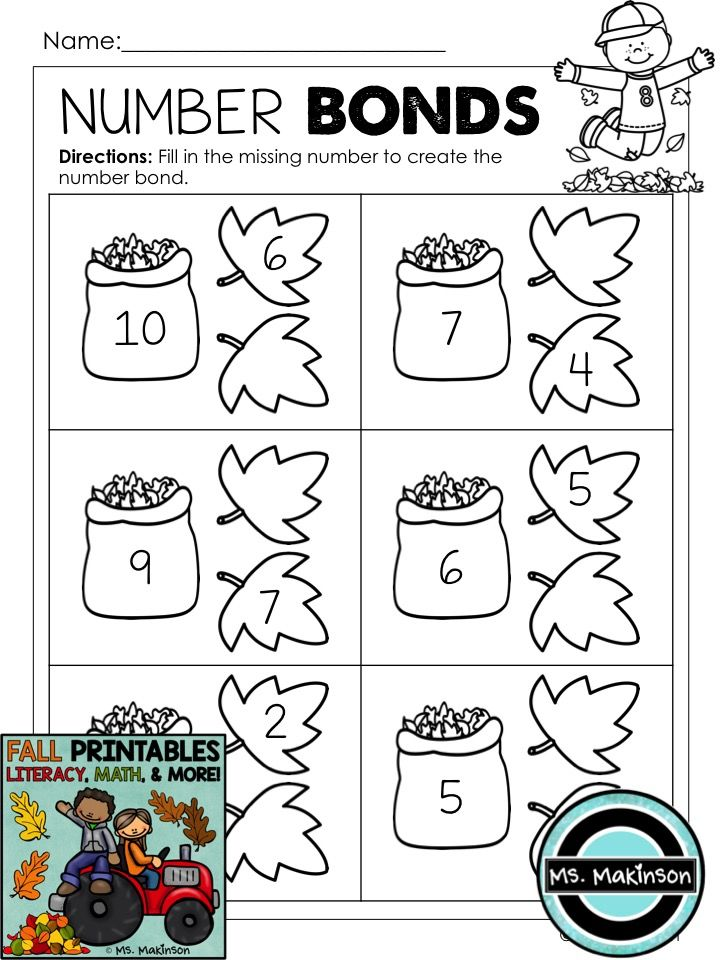 Fall Printables Literacy Math Science Math Fall