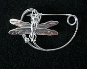 Silver Dragonfly brooch pin Shawlpin Shawl pin Peter Wright, Celtsmith