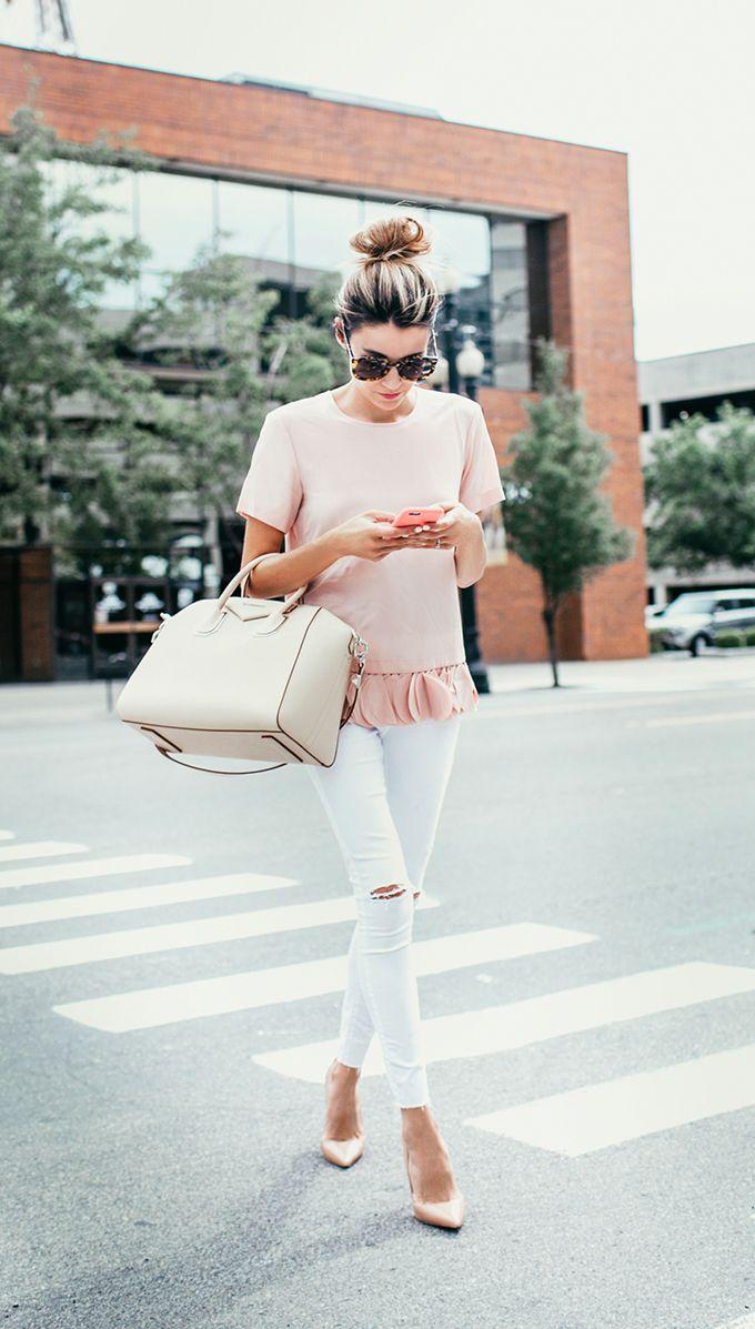 Blush hues: DKNY ruffle top, Givenchy Antigona bag & Christian Louboutin So Kate Nude Patent heels #StreetStyle