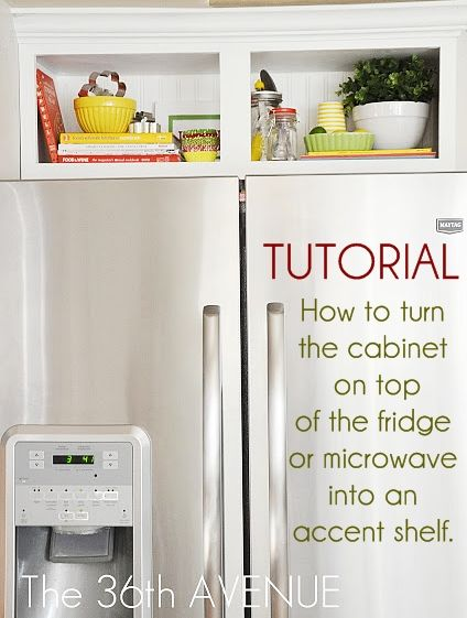Kitchen Accent Cabinet Tutorial : How to turn the cabinet on top of the fridge (or microwave) into an accent shelf.