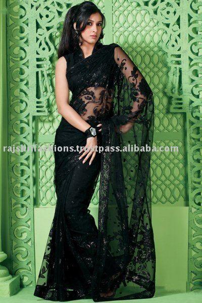 Black netted design Saree
