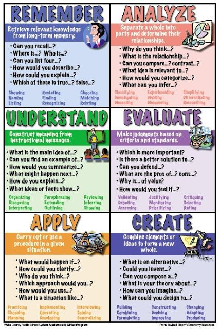 Visual/outline to encourage higher-level thinking.