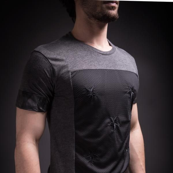 SAW Men 5 Star Mesh Faux Leather T-shirt - Heather Gray