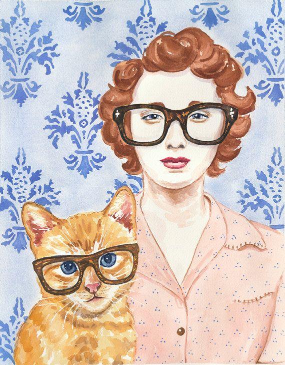 Watercolour PRINT - Cat and Woman Watercolor, Animal Illustration, Cat Lady, 8x10 Print via Etsy
