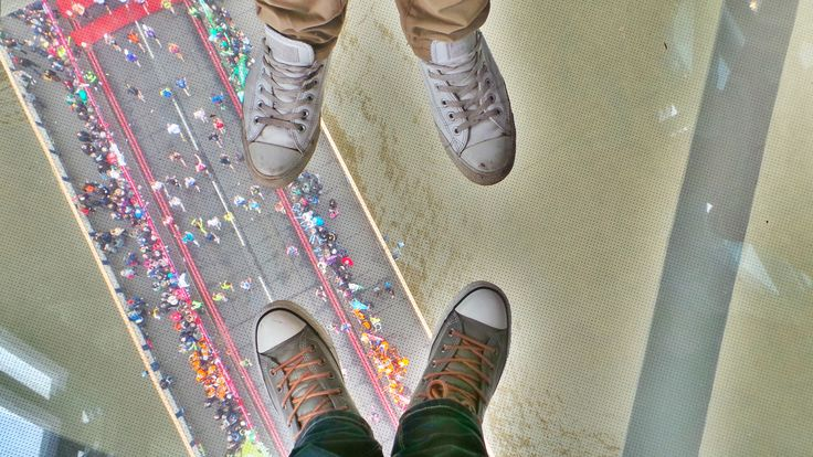 Don't look down! The view of the incredible #LondonMarathon from the glass floor of #TowerBridge