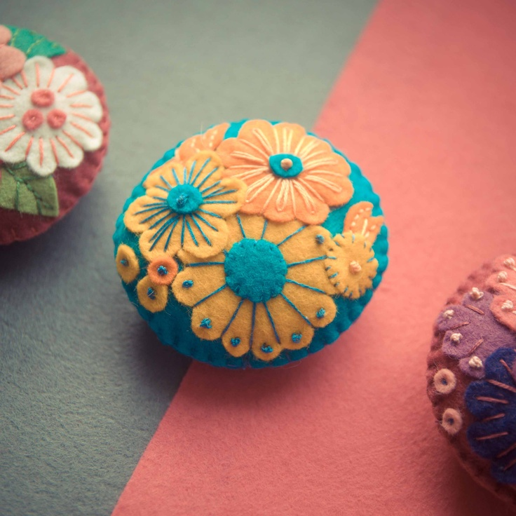 Handmade by Martha Stark   tags: #handmade #marthastark #brooch made of #felt #decoration #rekodzielo #bead #thread #yellow #orange #turquoise